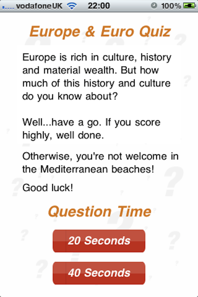 Screenshot Europe & Euro – 100Q Quiz